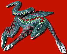 Carved and painted folk art lizard, Oaxaca